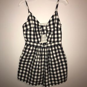 Blue and White Checkered Romper